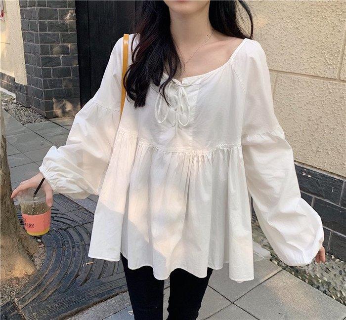 Maisobo 韓 秋冬 氣質繫帶燈籠袖娃娃裝襯衫 2色 Q-528 預購