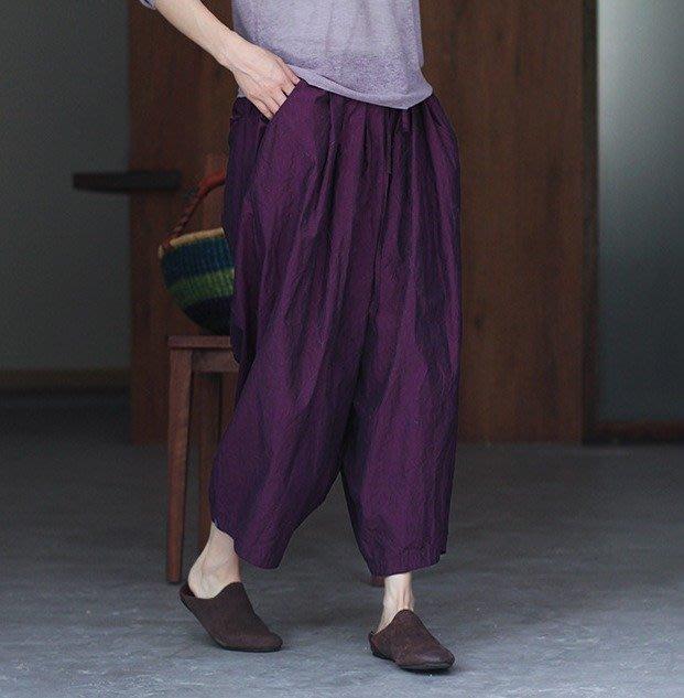春夏文藝復古鬆緊梅紫色寬褲休閒褲闊腿褲繭型褲 / NJ24