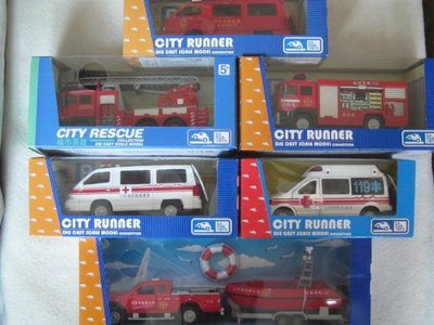 【KENTIM 玩具城】全新EAPAO消防救護車系列(1組6台)特別版一次收集擬真烤漆合金迴力車(易保公司貨)