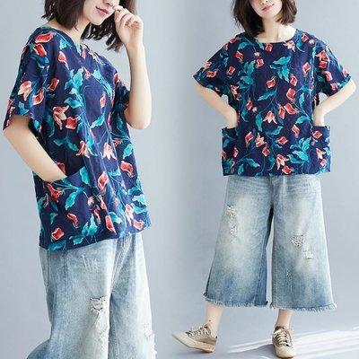 200斤夏季新款 特大尺碼大口袋顯瘦微大尺碼 MM短袖圓領套頭短袖T恤 上衣女