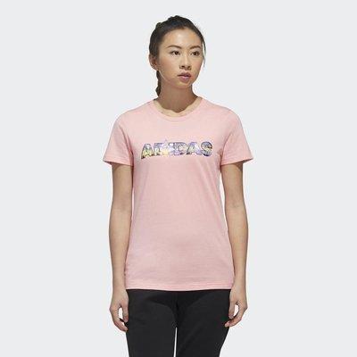 【E.P】ADIDAS GFX T CAP 粉色 短袖 短T 棉質 繽紛 衝浪鳳梨 休閒 運動 女款 FT2919