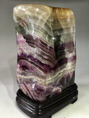 *藏雅軒*天然晶礦雅石晶瑩剔透靜觀冥想風水擺件-紫綠雙色冷翡翠-7705g