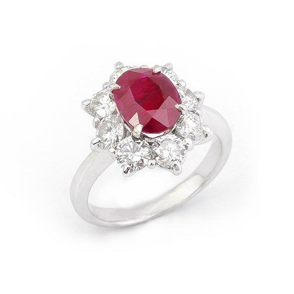【JHT金宏總珠寶/GIA鑽石專賣】2.08ct天然紅寶鑽戒/材質:PT900(JB29-C25)