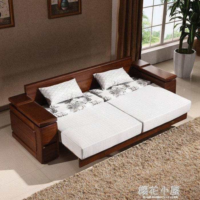 實木沙發床多功能推拉兩用三人位可折疊客廳雙人簡約現代小戶型QM