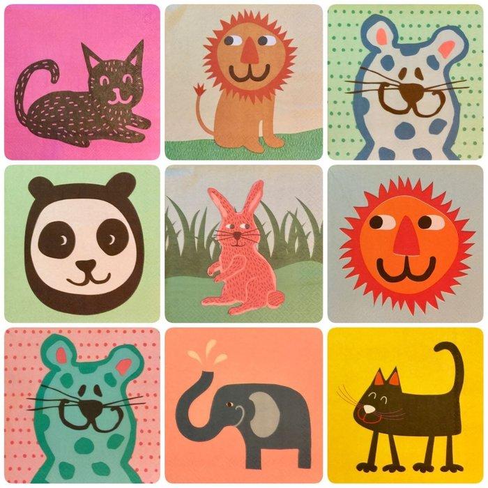 ❤Lika小舖❤33cm動物卡通款1...餐巾紙蝶谷巴特蝶古巴特老鼠熊貓獅子公雞兔子大象貓咪企鵝瓢蟲幸運草小鳥火鶴