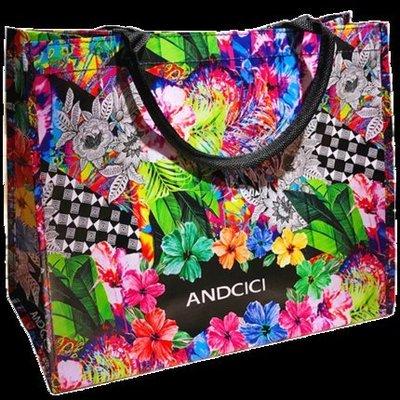 M女装潮流服饰 ANDCICI手繪插畫風手提袋防水袋大容量環保購物袋側背女學生書包