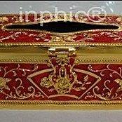 INPHIC-歐式高級鋅合金鍍金人工表面彩繪紙巾盒