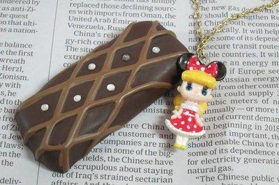 情人節~日系可愛米妮娃娃巧克力水鑽長版項鍊~夢幻逸品新上市