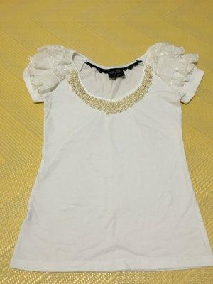 白色珍珠領口上衣 ,  100含運