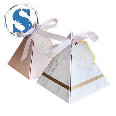 #現貨#秒出  [On Sale]100件歐洲三角金字塔風格糖果盒婚禮喜歡派對用品紙質禮品盒用THANKS卡和絲帶85X