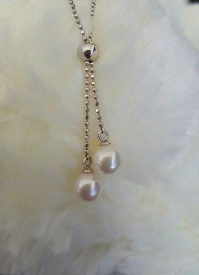 D&D Jewelry 珍珠 可調整式 (含18K鍊)一體成型設計 天然珍珠項鍊 隨穿著心情調整珍珠高低 韓星特愛氣質款