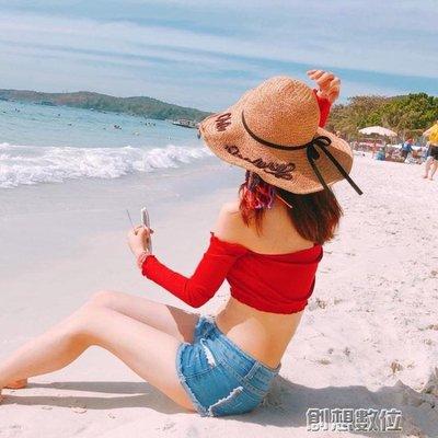 草帽女夏天出游海邊沙灘帽韓版百搭防曬遮陽帽子大檐可折疊太陽帽