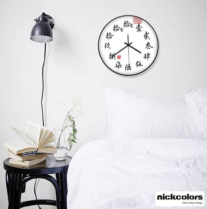尼克卡樂斯~中國風大寫數字掛鐘 圓形靜音時鐘 酒吧掛鐘 餐廳掛鐘 咖啡廳時鐘 客廳臥室掛鐘 工業風掛鐘