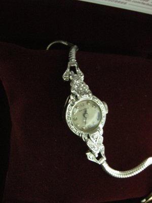 BENRUS 賓路士瑞士製/ 女粧14白K金原鑲珍藏鑽錶 品相極美