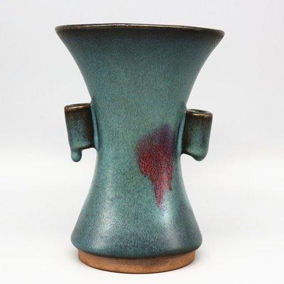 古董瓷器古玩古瓷器 宋鈞窯天藍釉 貫耳腰瓶