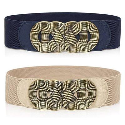 腰封皮帶 素色 交叉 編織 裝飾 彈性 鬆緊 腰封 對釦 寬版 腰帶【SB011】
