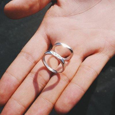 純銀情侶戒指男女一對刻字學生日韓百搭簡約活口幾何對戒指環
