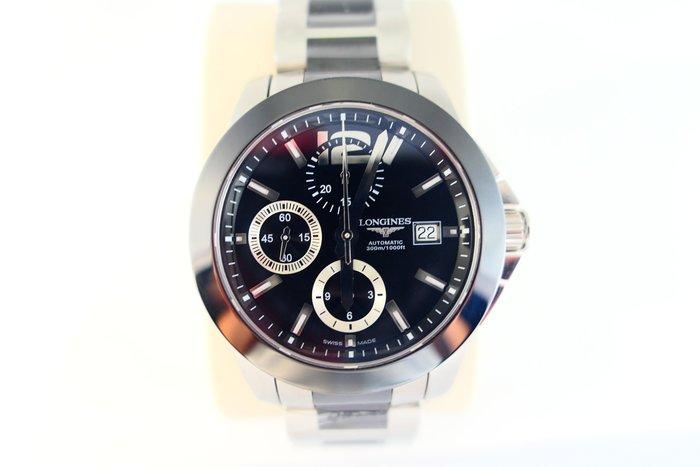 [吉宏精品交流中心]LONGINES 浪琴 征服者 三眼 陶瓷 機械 計時碼錶(全新品)