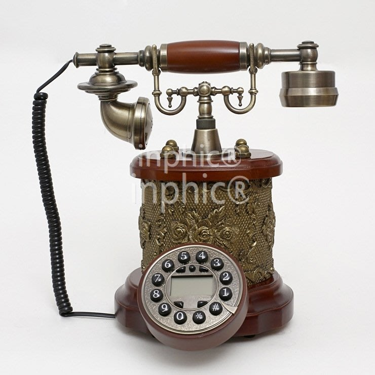 INPHIC-歐式高檔古董電話機 創意雕刻實木座式有繩電話座機