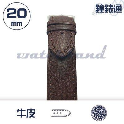 【鐘錶通】C1-02HR《簡約系列》荔枝紋-20mm 經典棕 /細車線錶帶/荔枝紋/牛皮錶帶/