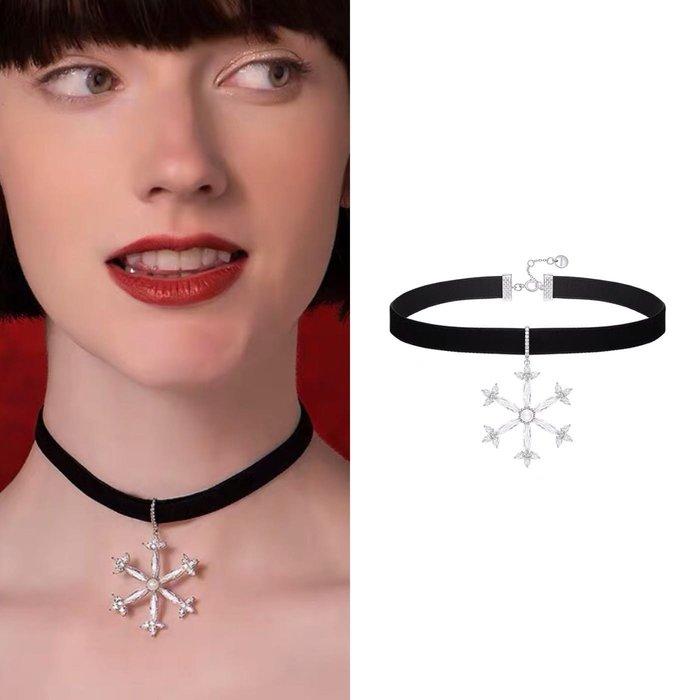 💎1772、珠寶感高貴大雪花滿鑽名媛頸鍊💎  精品 耳環 輕奢飾品 正韓飾品 925純銀針