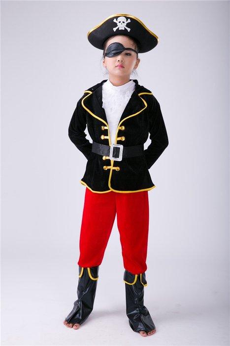 艾蜜莉舞蹈用品*表演道具*萬聖節兒童海盜船長演出服-購買價$600元