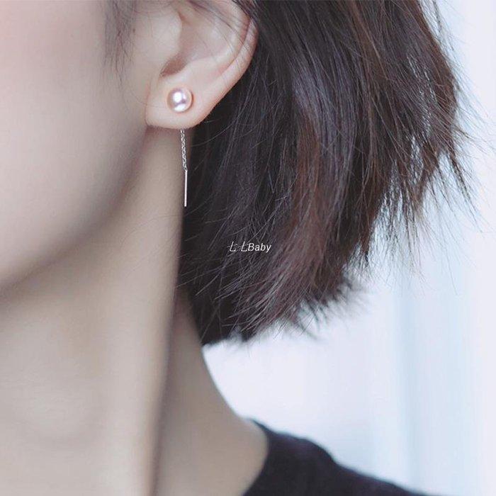 七七Baby珍珠流蘇耳環女2020新款潮顯臉瘦氣質925純銀耳釘耳飾耳線耳鍊