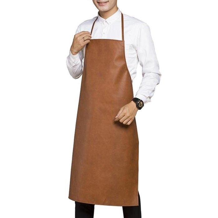 圍裙 成人防水防油工作皮革圍裙做飯廚房圍裙男女 MK3708