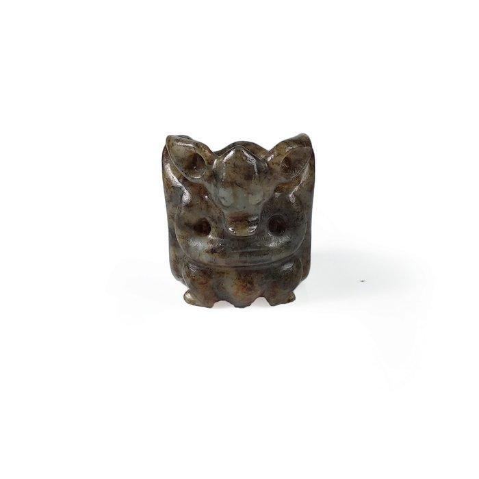 《博古珍藏》和闐玉太陽神老鷹扳指戒指.34公克.紅山文化文物.工中工痕.早期收藏.行家勿錯過.超值回饋
