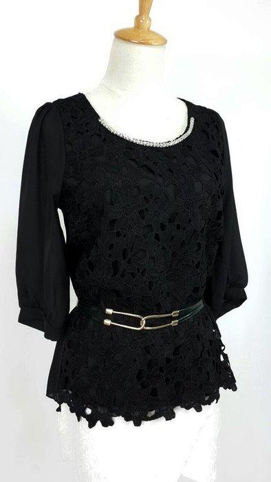 黑色雪紡蕾絲上衣  現貨一件喔~