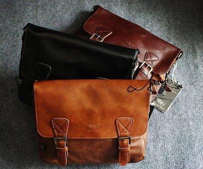 FRANKS自創品牌款~咖啡 黑 卡其 3色皮革 復古 斜背包 大包 肩背 手提 肩背包 可調肩帶 後背包 斜背公事包