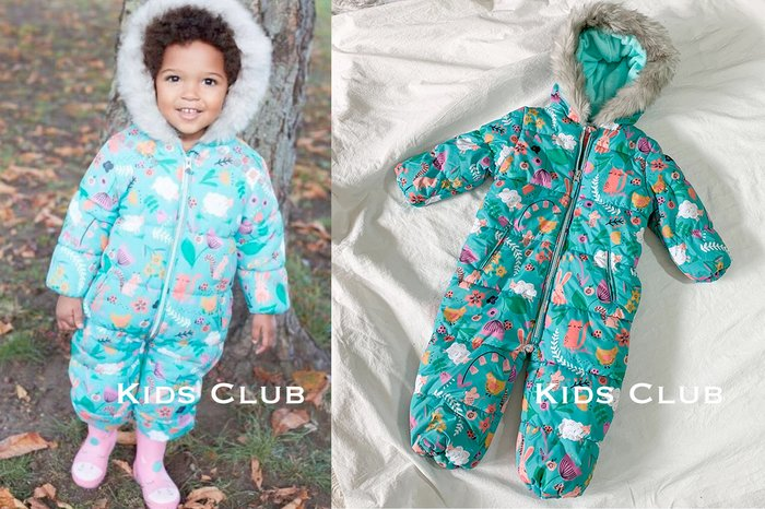 【Kids Club】10/24 歐美品牌嬰幼兒女童寶寶兒童冬季彩色動物印花加絨夾棉連身衣毛領連帽子外出連身褲雪衣