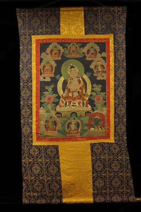 一0515  西藏寺院收~開光密宗清代高僧畫師純手工繪畫【白度母】唐卡 畫芯用布畫 長1.4米 寬75釐米 畫心長64釐米 寬45釐米