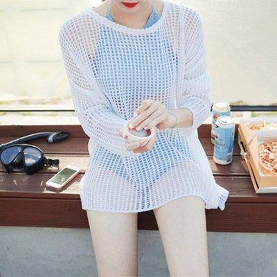 【Strawberry】夏季海邊度假沙灘裙性感泳衣比基尼罩衫外套鏤空防曬衫針織