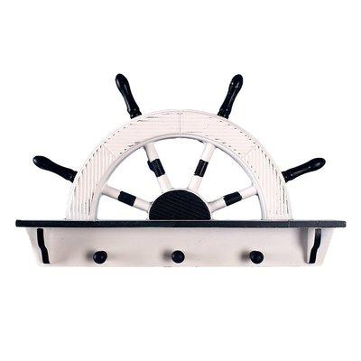 創意地中海船舵墻面裝飾掛鉤置物架免打孔衣帽鉤玄關背景墻裝飾品