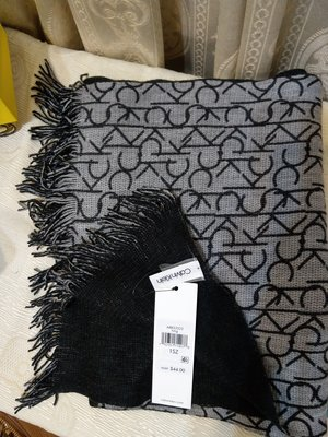 Calvin Klein CK 卡文克萊 黑色灰色 雙面圍巾 經典logo 購至美國 全新品 32*200cm