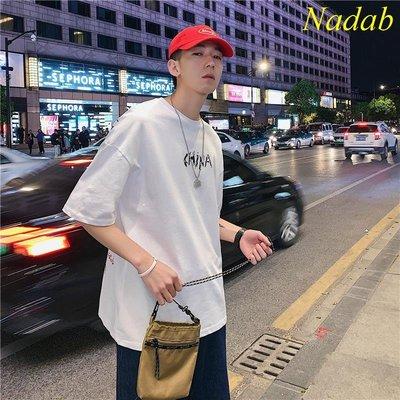 【Nabad】T恤男夏季韓版潮流印花半袖丅恤港風INS超火的短袖男士寬松五分袖