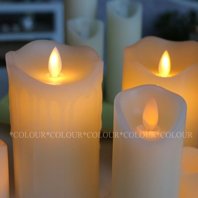 LED 10CM*直徑7.5CM 仿真電子蠟燭充電 流蠟款 火苗搖擺晃動/無煙無汙染※ COLOUR歐洲生活家居 ※