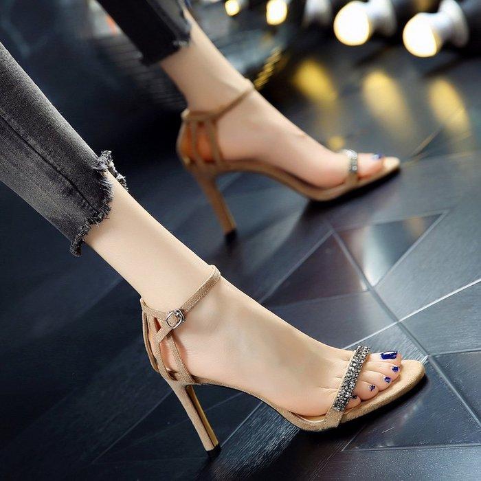 Fashion*性感名媛宴會涼鞋 露趾細跟伴娘鞋婚鞋 絨面水鉆鏤空一字扣高跟鞋女