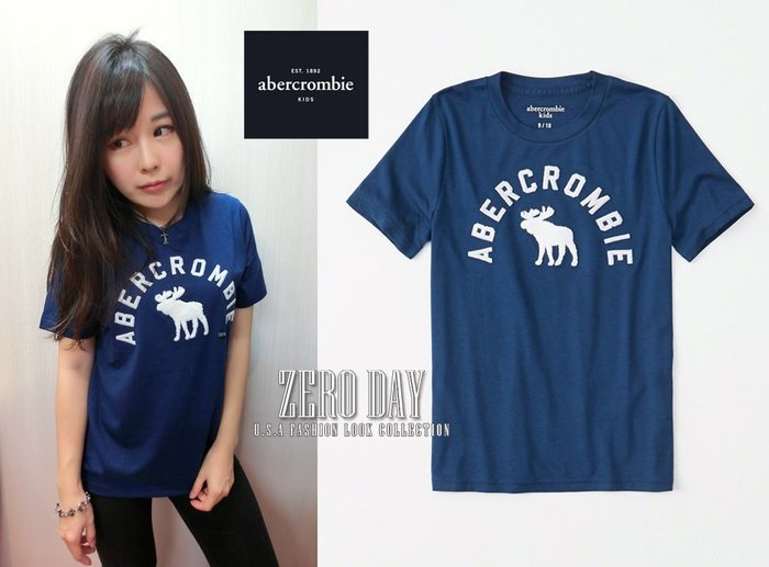 美國a&f真品abercrombie&fitch boy embroidered logo tee立體麋鹿短袖T-寶藍