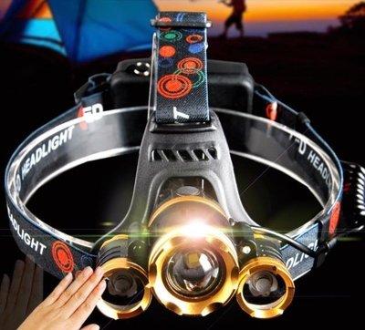 頭頂燈頭燈強光充電超亮頭戴式感應打獵夜釣魚led變焦鋰電礦燈疝氣戶外DF