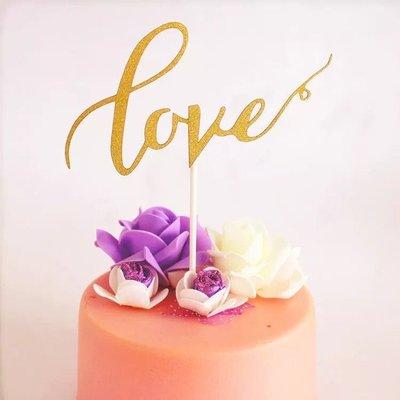 (金色)摯愛LOVE蛋糕插旗 插卡 蛋糕裝飾插牌 party candy bar 生日蛋糕 情人節 birthday