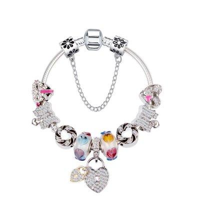 歐美蝴蝶結手鍊 愛心大孔珠 時尚DIY鑲鑽水晶串珠手鍊yq166