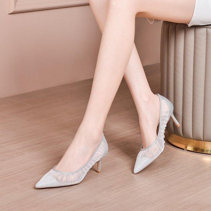 H.G.M 真皮 全網爆款 羊皮鞋墊 尖頭涼鞋 高跟 HKA 075
