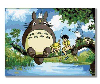 數字油畫diy手繪畫客廳風景卡通兒童裝飾畫30*40 龍貓