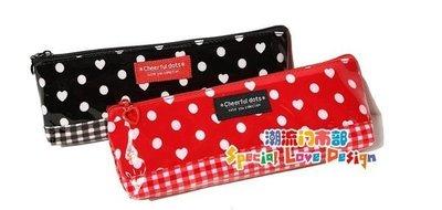 日本 DAISO JAPAN Cheerful dots Cutie You 格紋 化妝包收納包
