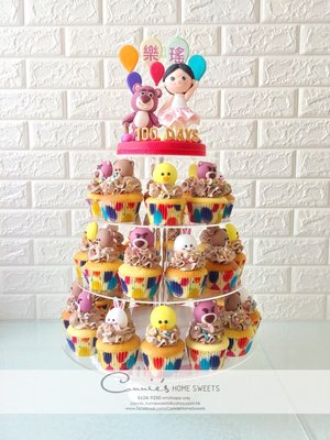 【Connie's Home Sweets】Lotso 勞蘇 百日宴蛋糕 100 days cake cupcake tower line