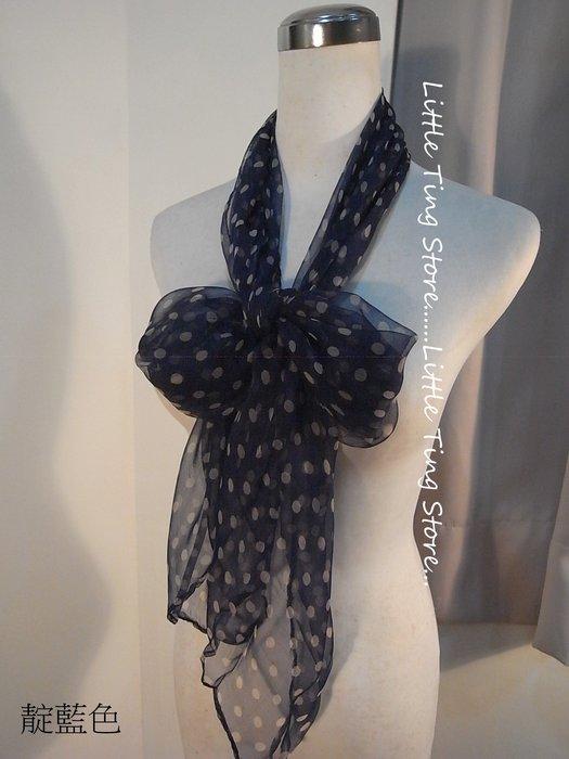 Little Ting Store: 水玉點點絲巾100%SILK手工絲長巾髮圈髮帶圍巾披肩頭巾帽子 兩色黑/靛藍