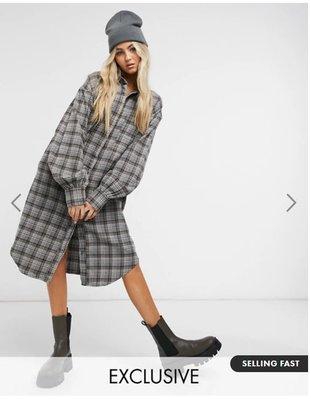 (嫻嫻屋) 英國ASOS-COLLUSION 灰色格紋襯衫中長裙洋裝 SK20