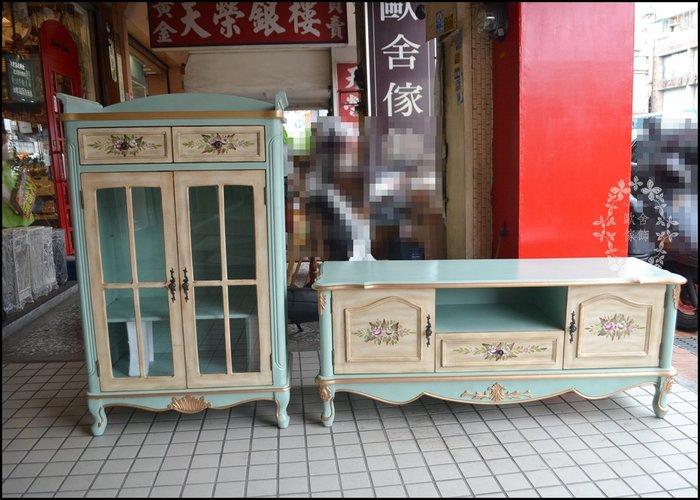 彩繪復古刷舊 彩繪藍綠色雙色玫瑰五尺電視櫃 鄉村風木製5尺TV櫃客廳長櫃視聽櫃矮櫃收納櫃另有白色款 預定款式【歐舍家飾】